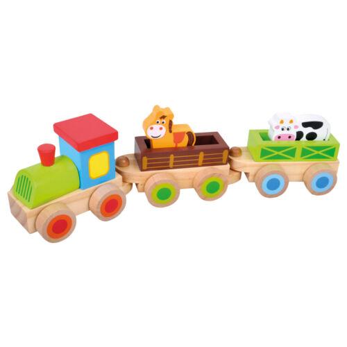 Holzspielzeug Holzzug 8 Teile Bino Farm Trenino Holzzug mit Tieren 82143