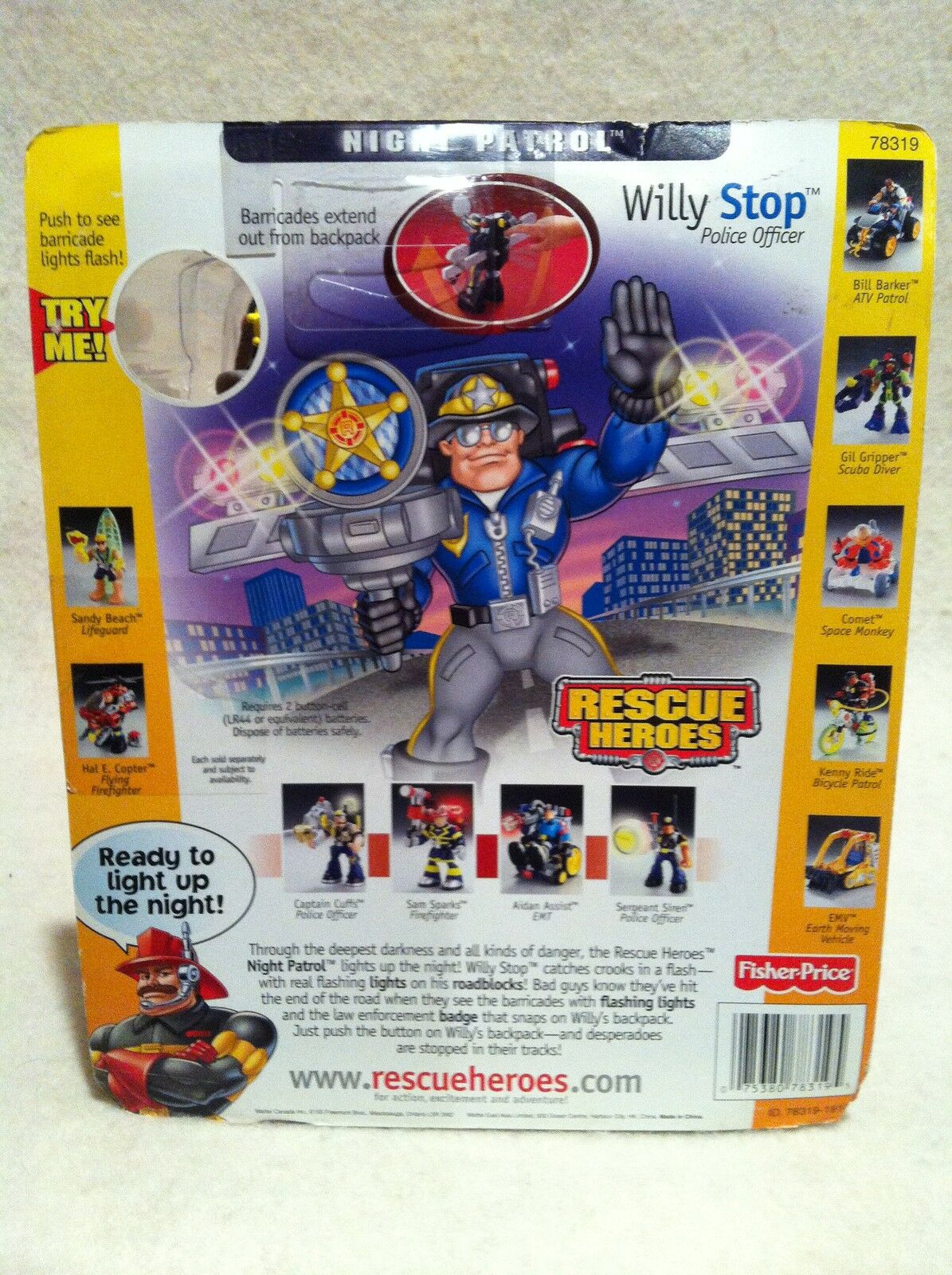 Rescue Heroes Night Patrol Willy Stop Factory Sealed  Light-Up Light-Up Light-Up Action  649830