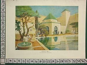 C1930-Francese-Stampa-L-039-Illustrazione-Pavillon-Du-Marocco-Bandiera-Di-Bazin
