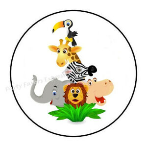 """30 JUNGLE ANIMALS BABY SHOWER ENVELOPE SEALS LABELS STICKERS PARTY FAVORS 1.5/"""""""