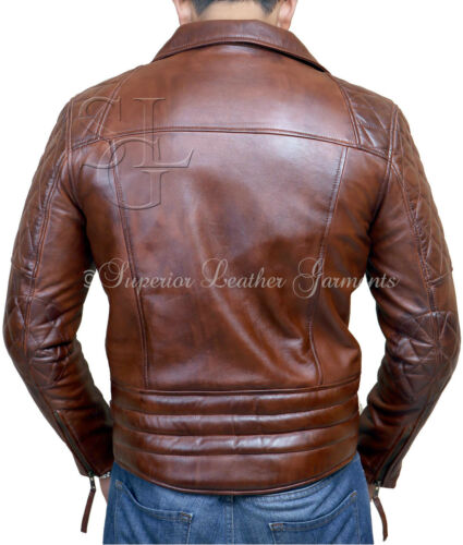 Winter Biker Distress Leather Real Brown Antique Vintage Mens Jacket Motorcycle IYdxwqPUa