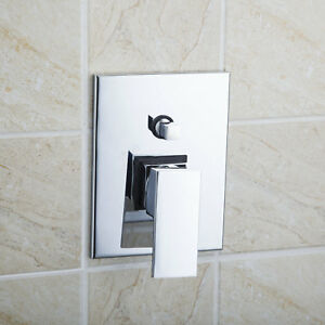 EUB Bathroom Mixer Tap Faucet Square Shower  Control Valve Chrome Wall Mounted