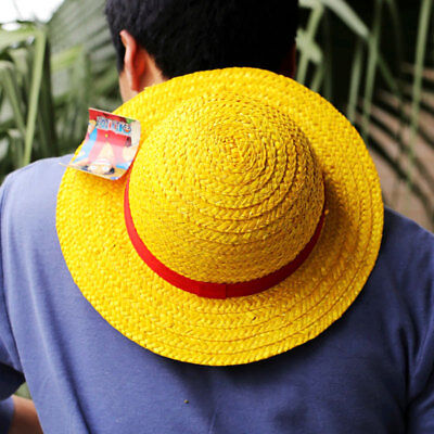 Anime One Piece Straw Hat Pirates Monkey D Luffy Cosplay Plait Strawhat Cap Gift