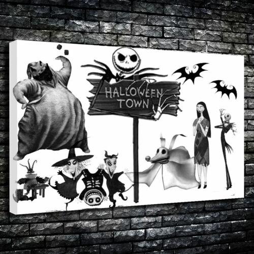 "/""Halloween Town/"" Jack Skellington Art Printed Canvas Picture Multiple Sizes"