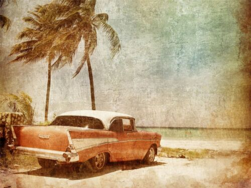 ART PRINT POSTER PHOTO FADED TROPICAL ISLAND VINTAGE CAR PICTURE LFMP1185