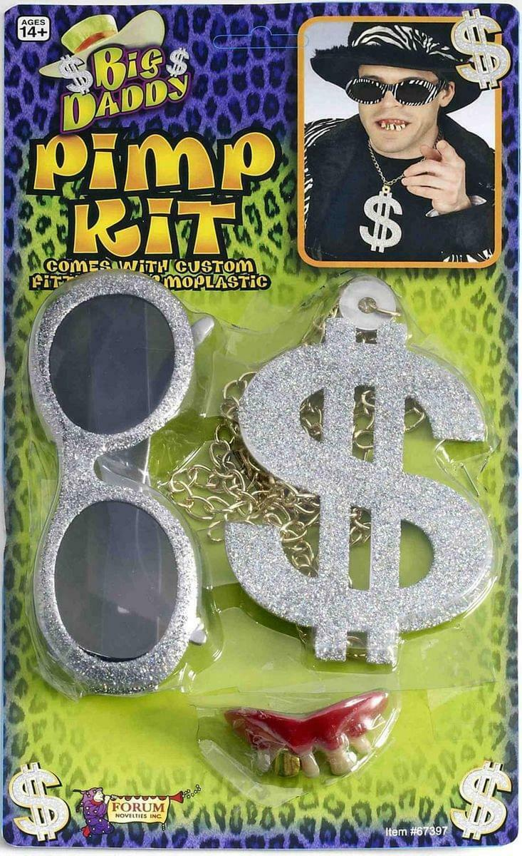 Pimp Kit With Costume Sunglasses, Dollar Sign Necklace, And Fake Teeth One Size
