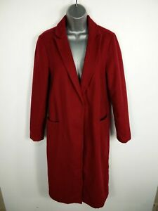 WOMENS-NEW-LOOK-DARK-RED-BUTTON-UP-SMART-LONG-WINTER-OVERCOAT-JACKET-UK-SIZE-10