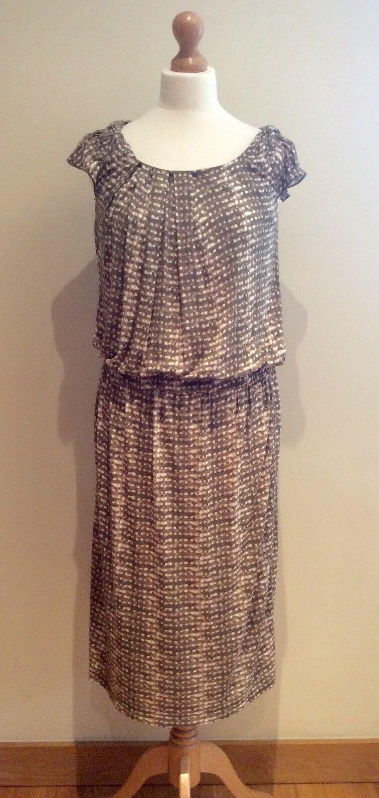 MAX MARA WEEKEND DRESS Größe L KHAKI Grün Weiß STRETCH