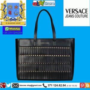 Versace Frange A Borsa Shopping Donna Nero Shopper Borchie Jeans f67bgy