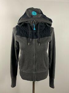 Lululemon Athletica Fireside HOODIE Jacket Knit Scuba Gray Sweater Zip Up Sz 4 S