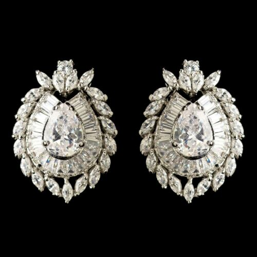CZ Pear French Clip Pieced Stud Earrings Wedding Jewelry for Bride