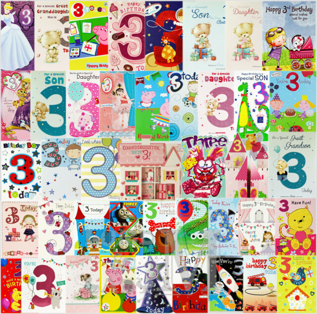 3rd Birthday Card General Open / Son / Daughter - Various Designs Available