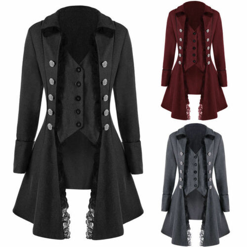 Victorian Trench Womens Long Coat Jacket Buttons MIlitary Goth Steampunk Ths01