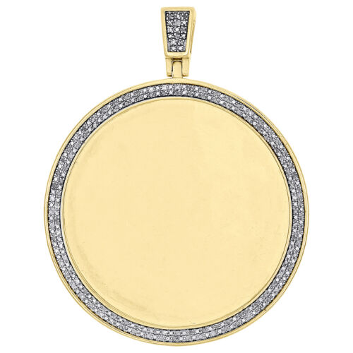 """Sterling Silver Diamond Medallion Picture Memory Frame Pendant 2.3/"""" Charm 1//2 CT"""