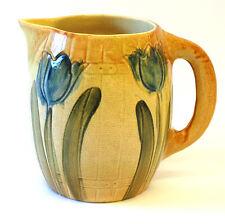Roseville Studios Hand Glazed Original Ceramic Tulip Pitcher Vase Antique Signed