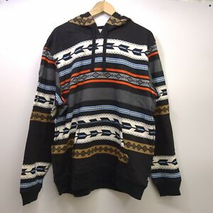 Details about New Levis Mens White Black All Over Tribe Graphic Fleece Pullover Hoodie S XXL