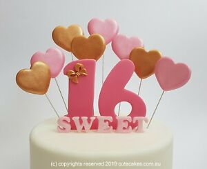 Fantastic Sweet Sixteen 16 Cake Topper Love Hearts Hot Pink Birthday Party Funny Birthday Cards Online Overcheapnameinfo