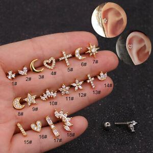 Helix Tragus  CZ Ear Piercing  Body Jewelry Silver Gold Color Stud Earrings