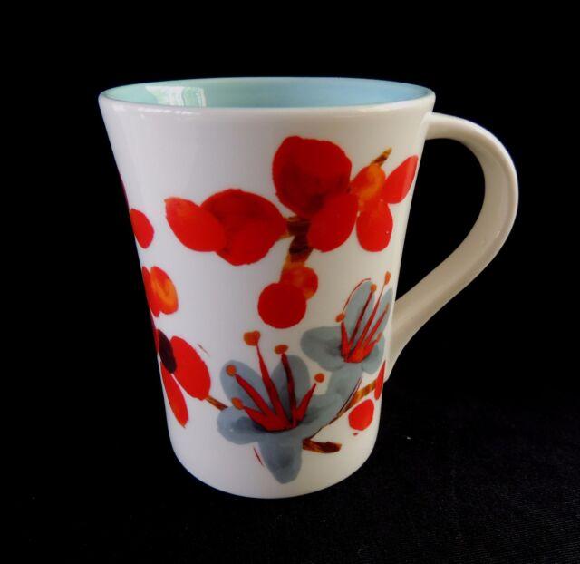 Starbucks Floral Mug 2008 Coffee Bean Flowers Berries Cup Tall Latte Tea 12 oz