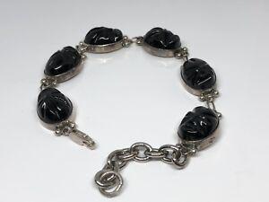 Black-Onyx-Gemstone-925-Sterling-Silver-Jewelry-Bracelet-7-8-034