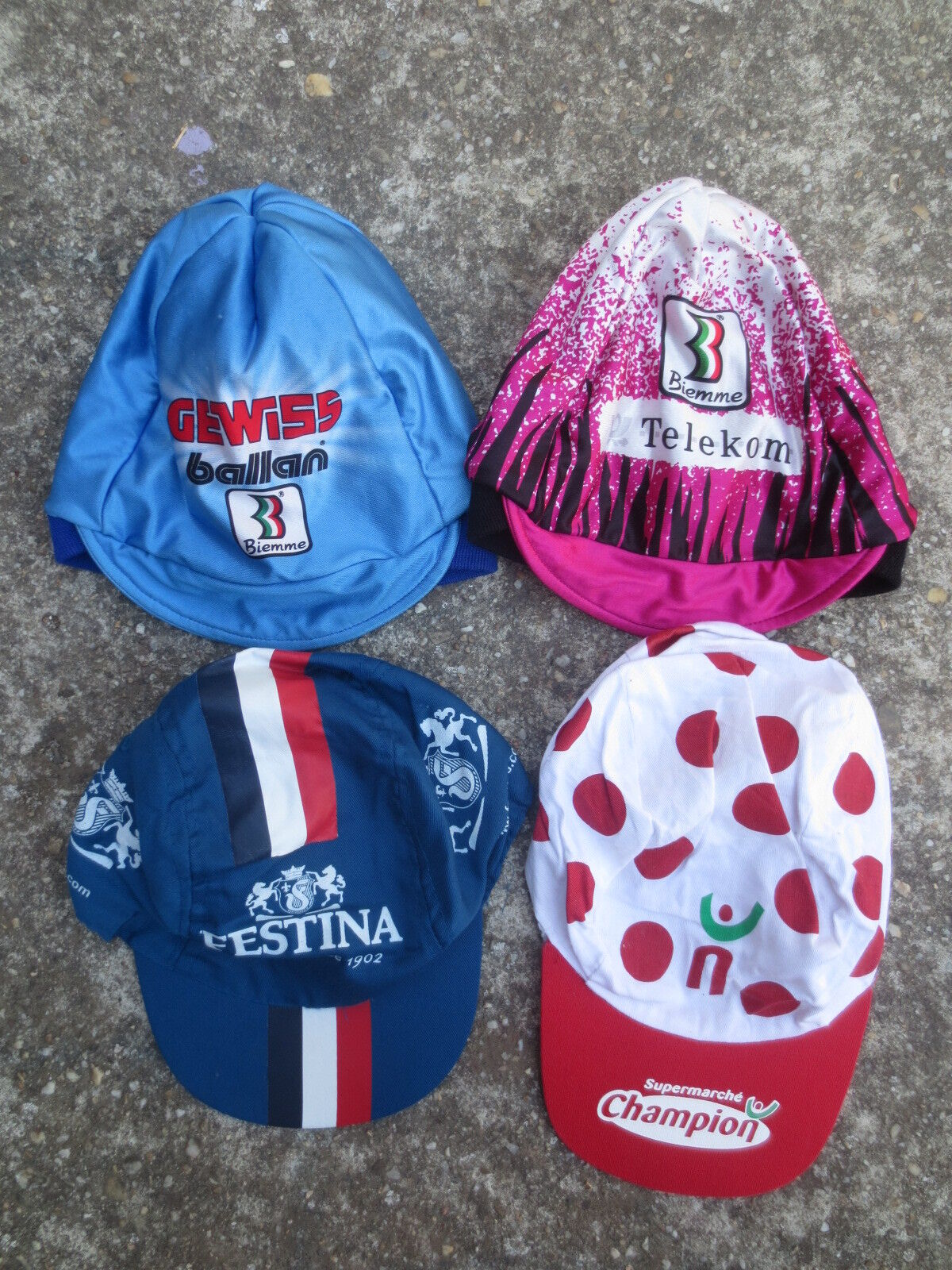 Lot 4 Casquette Bonnet cycliste Tour  de FRANCE FESTINA TELEKOM GEWISS BALLAN cap  save 50%-75%off
