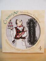 "Counter Art ""cafe De Paris"" Absorbent Stoneware Round Coasters Set Of 4"