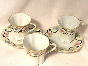 Eggshell-Porcelain-Nippon-Chocolate-Cups-3-and-2-Saucers-Pre-WWII