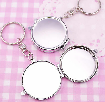 Small Mirror Keyring Blank Plain Keychain DIY Decoden Engraving Kawaii UK SELLER