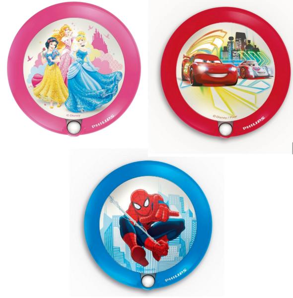 2019 Nuovo Stile Philips Disney Luce Notturna Per Bambini Principessa, Auto & Spiderman Stili Di Muro Luce Nuovo