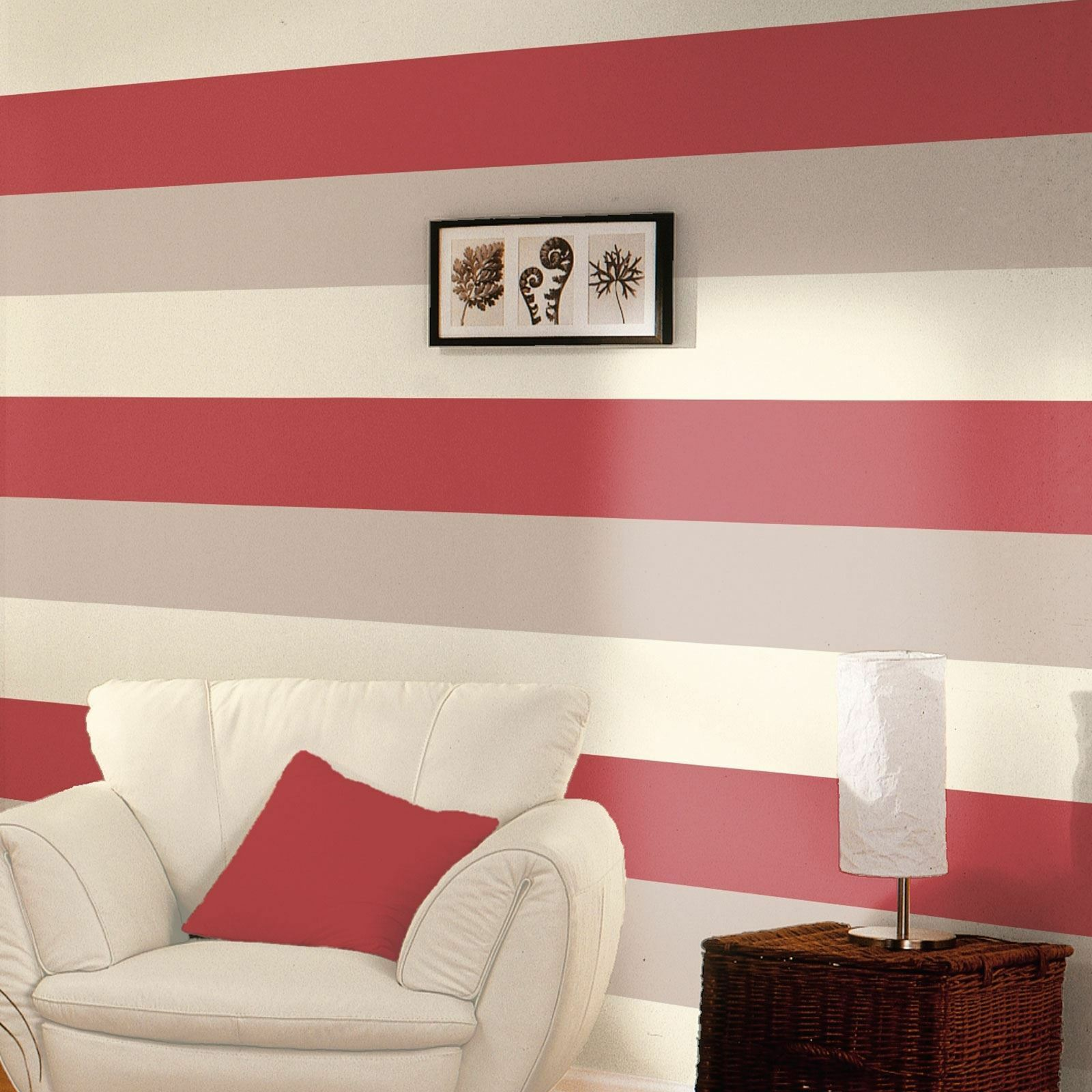 3 Stripe Colour Pattern Textured Red Cream Silver Wallpaper Direct