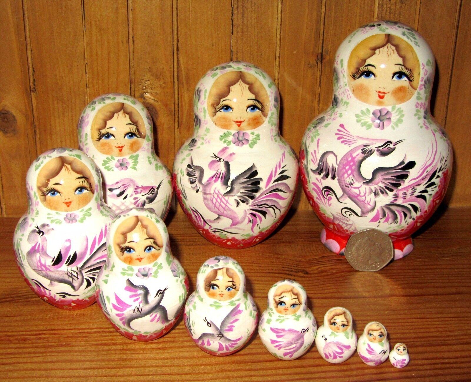 Russian Nesting dolls Matryoshka genuine 10 Weiß ROT birds MARCHENKO signed 5