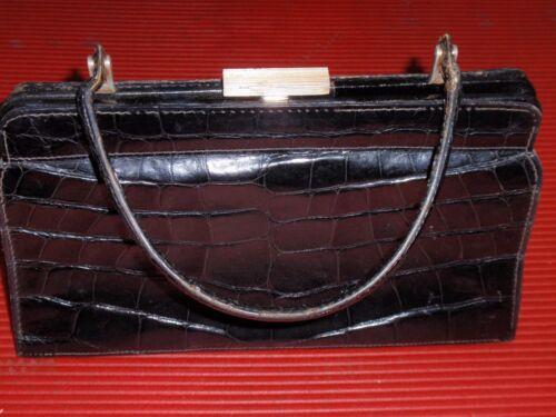 Gimbel Brothers France Alligatorhandtasche Vintage Schwarze Antike 7IqCgC