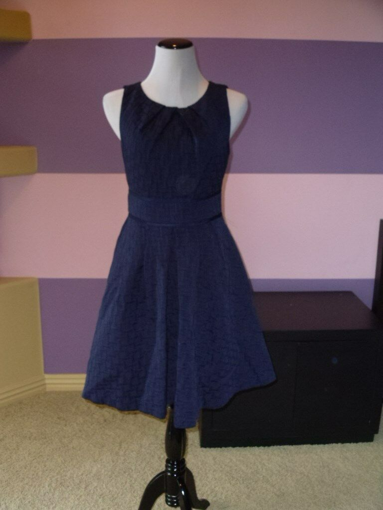 NWOT Eliza J Jacquard Fit & Flare Dress SZ8 Navy