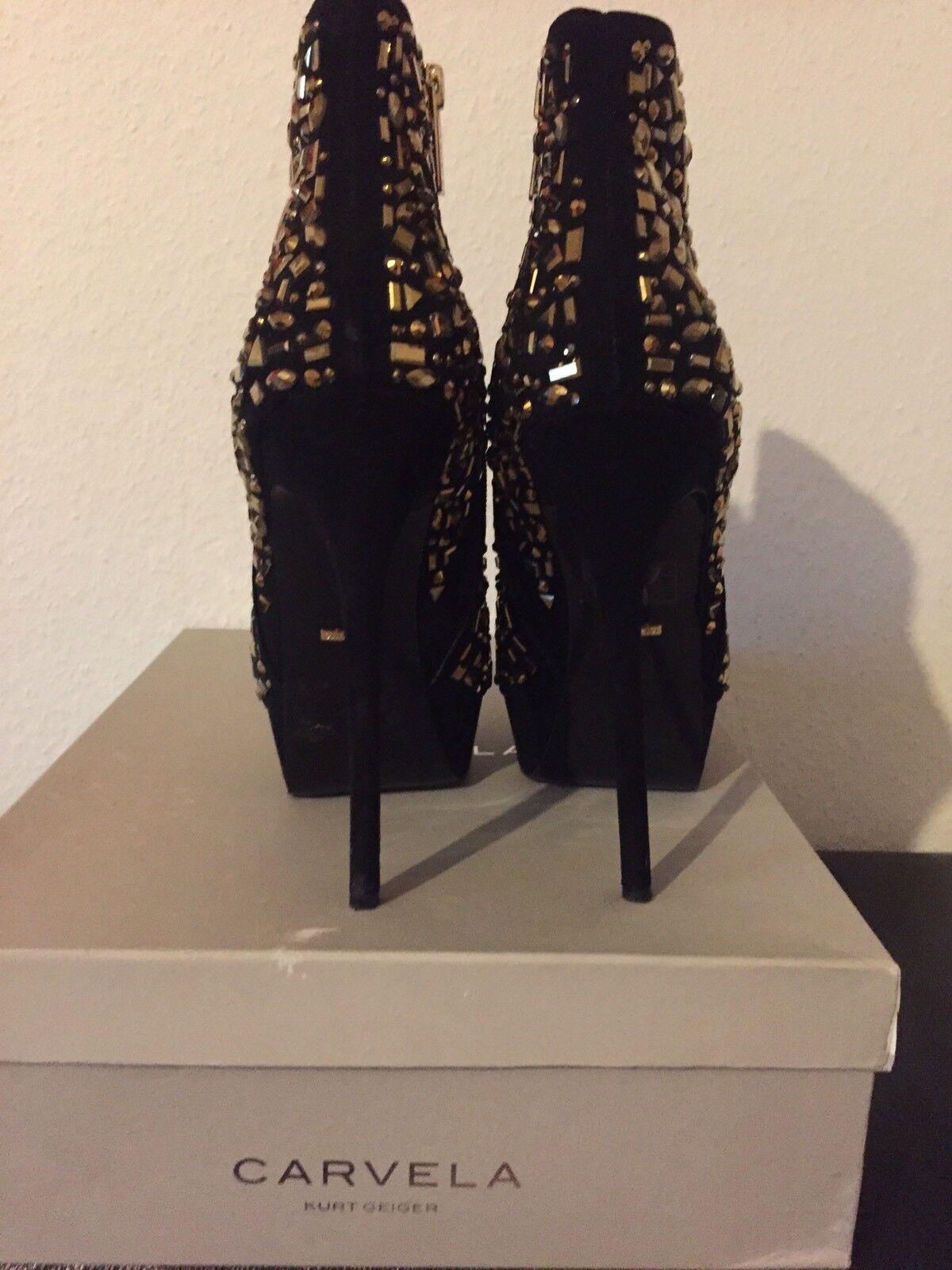 Carvela plataforma botas botas plataforma de gamuza Negro-oro talla 40 075757