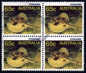 1986-Banded-Stingray-SG932-Block-Fine-Used-Stamps-Australia
