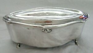 BIG-5-5-034-ANTIQUE-STERLING-SILVER-ENGLISH-JEWELRY-CASKET-BOX-FOOTED-1911-LINED