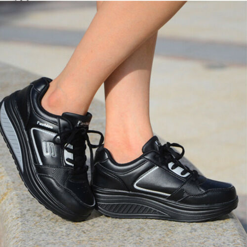 WOMENS LADIES PLATFORM TRAINERS LACE UP SNEAKERS CASUAL WOMEN RUNNING SHOES