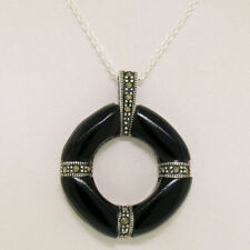 """Marcasite .925 Sterling Silver Black Onyx Round Life Saver Pendant w/ 18"""" Chain"""