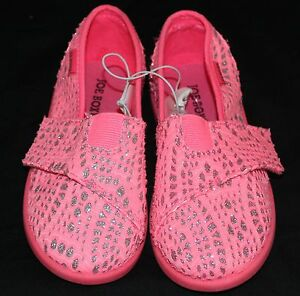 Joe-Boxer-Hot-Pink-Silver-Toddler-Girls-Slip-On-Shoes-w-Velcro-Closure-Size-10