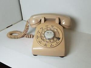 ROTARY-DIAL-DESK-TELEPHONE-PHONE-CREAM-RETRO-ITT