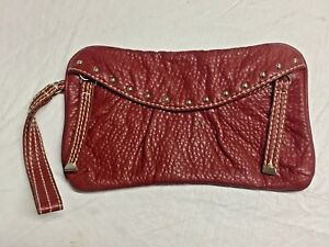 EUC-RED-by-Marc-Ecko-Envelope-Style-CLUTCH-Wristlet-Red-Pebble-039-Leather-034-10x6