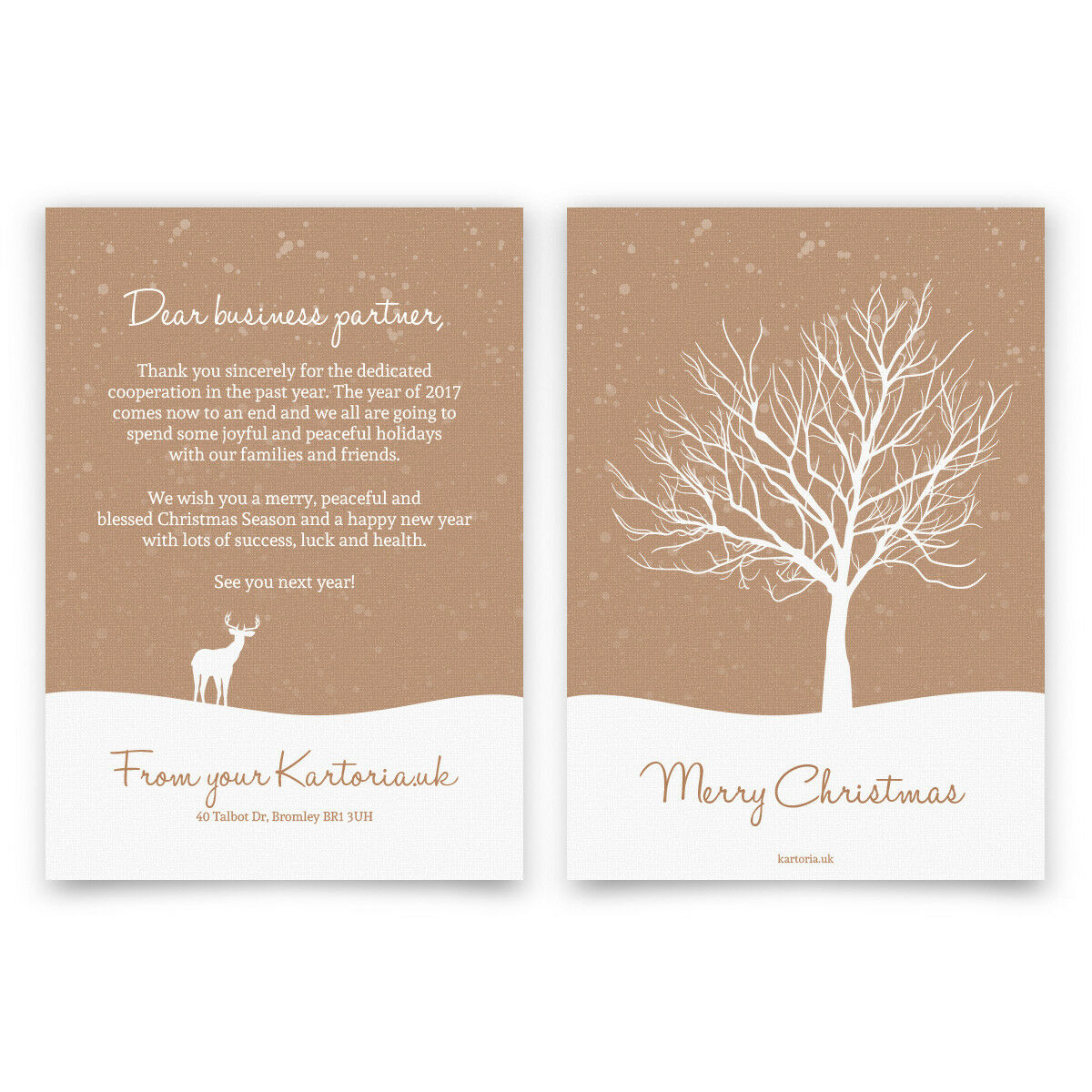Business Business Business Christmas Xmas Greeting Cards Personalised - Lonely Tree in Snow 75048f