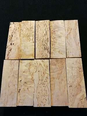 Russian Premium Karelian Birch Burl Set #1 Knife Scale Unstabilized Curly Block