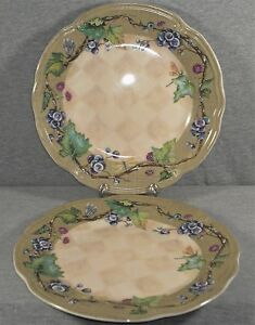 Tracy-Porter-Claret-Collection-Poland-10-75-034-Dinner-Plate-Grapes-Lot-of-2