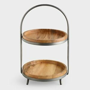2 Tier Round Serving Tray Stand Natural Mango Wood W