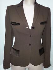 PLEIN SUD (Paris) Womens Suit Blazer Jacket Coat Size 4 Small Brown Polyester