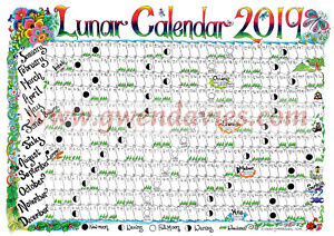 image is loading 2019 moon calendar a4 wall chart planner poster