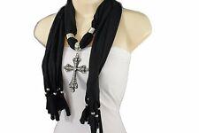 Women Black Soft Fabric Scarf Long Fashion Necklace Cross Rhinestones Pendant