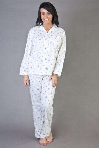 Ladies Long Sleeve Jersey Cotton Rich Floral Pyjamas Four Sizes