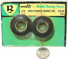 1pr 1960s RUSSKit Model Racing Parts 1/24 Slot Car TRIMMED REAR SPONGE TIRES 754